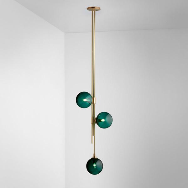 Thumb articolo lighting trilogy pendant  drunken emerald brass on