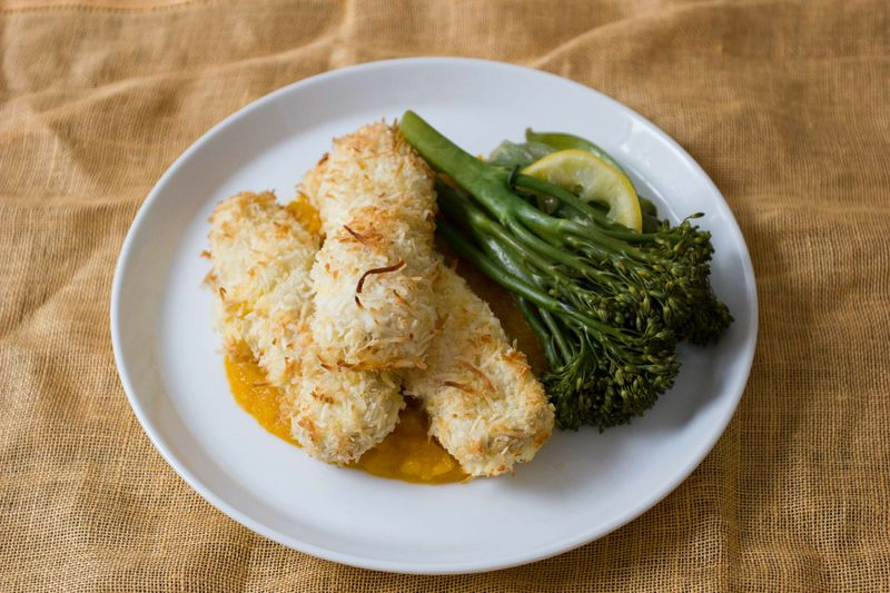 Coconut Chicken Nuggets With Pumpkin Mash Recipes 28 By Sam Wood