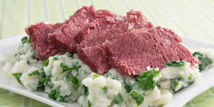 Corned Beef with Spring Vegetables and Cauliflower Mash