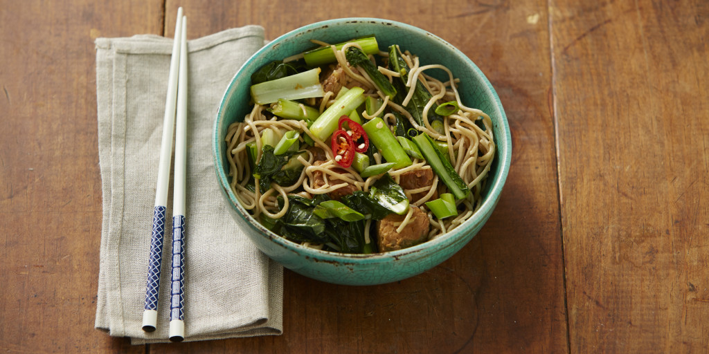 I Quit Sugar - Choy Sum and Soba Noodles with Tempeh