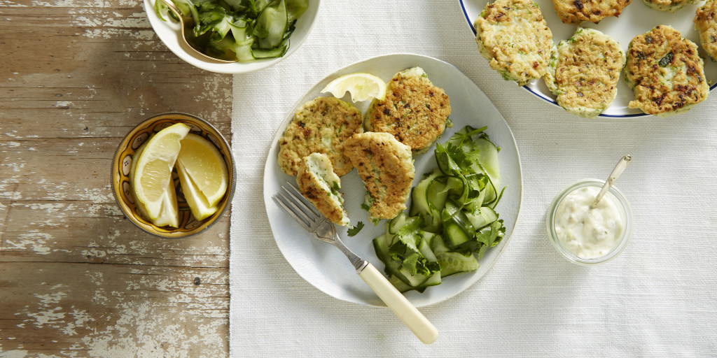 Fish Cakes with Cucumber Salad