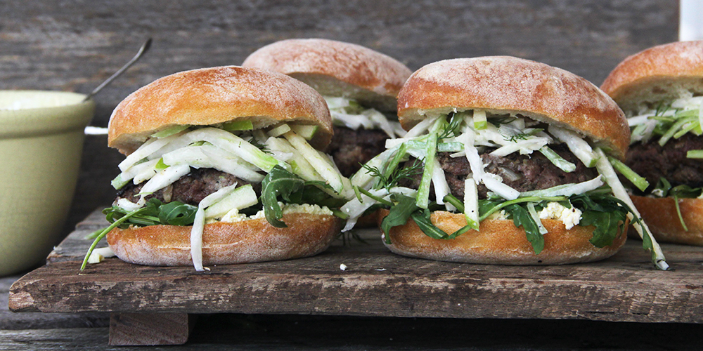I Quit Sugar - Kangaroo Burgers with Apple, Celery + Fennel Slaw