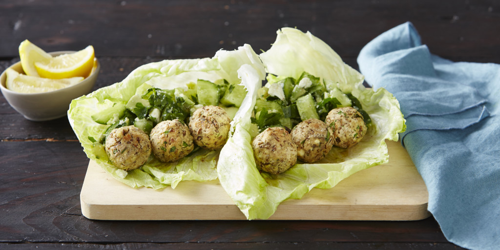 I Quit Sugar - Lentil Meatballs + Cucumber Salsa in Lettuce Wraps