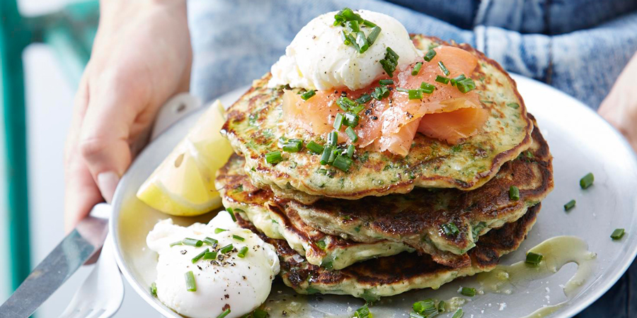 I Quit Sugar recipe: Chive, Kale + Parmesan Pancakes from the IQS Breakfast Cookbook