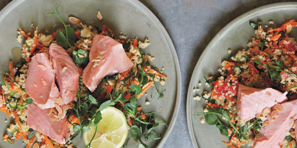 I Quit Sugar: Poached Salmon, Almond + Grapefruit Couscous