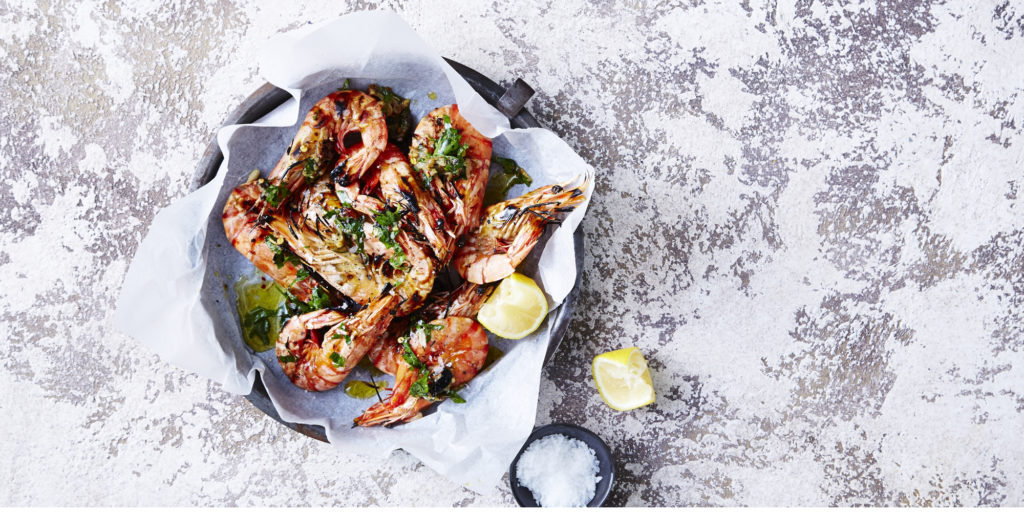 BBQ Prawns with Smoky Garlic Dressing