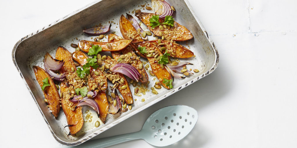I Quit Sugar - Caramelised Sweet Potato with Quinoa Crispies