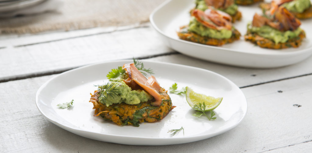 I Quit Sugar - Sweet potato fritters with smashed avocado and salmon