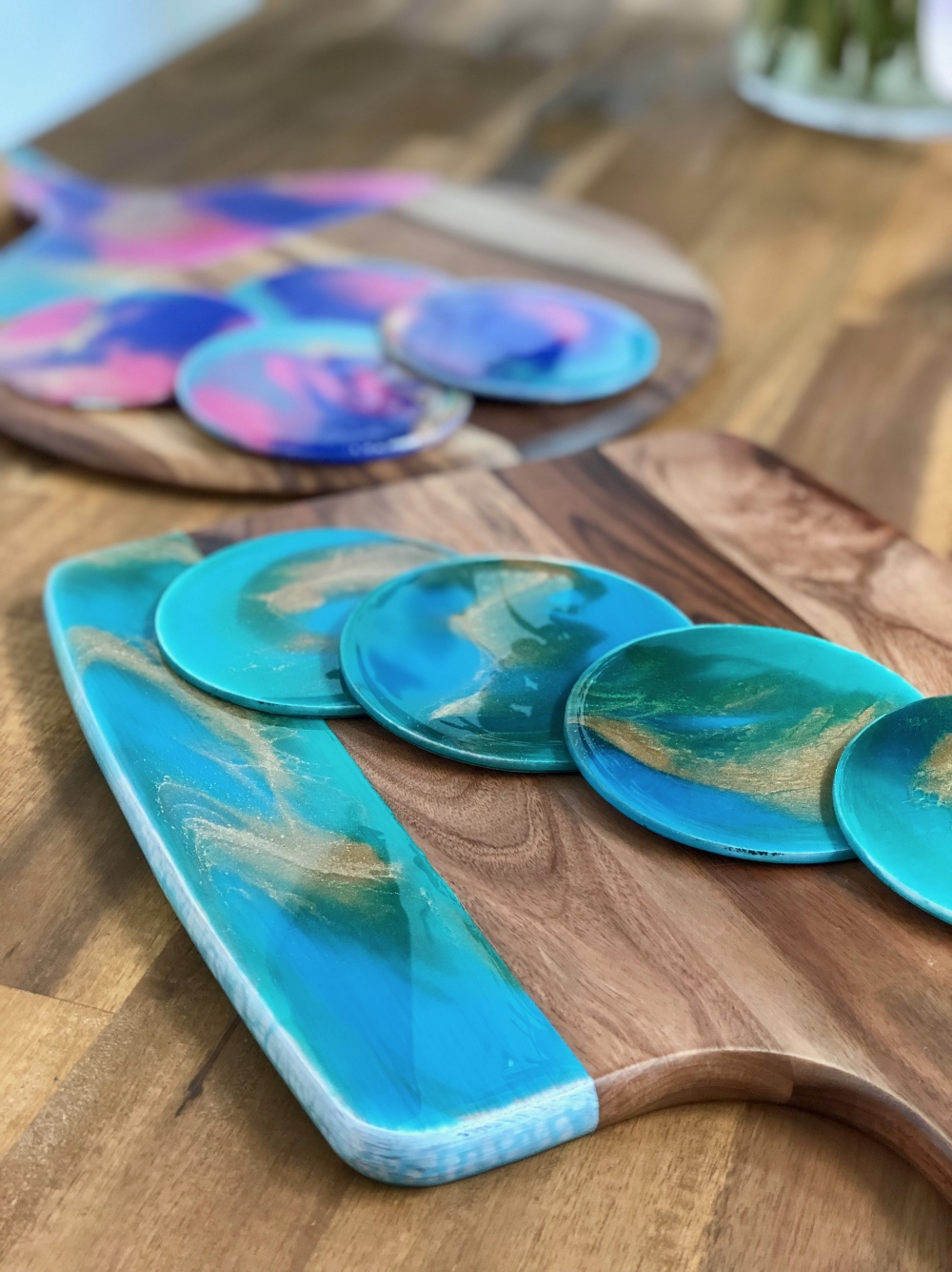 Resin Cheese Board and Coasters | Julia Godfree