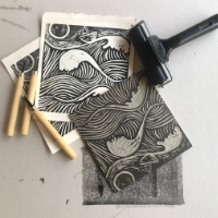 Printing On Fabric Using Block Prints And Stamps