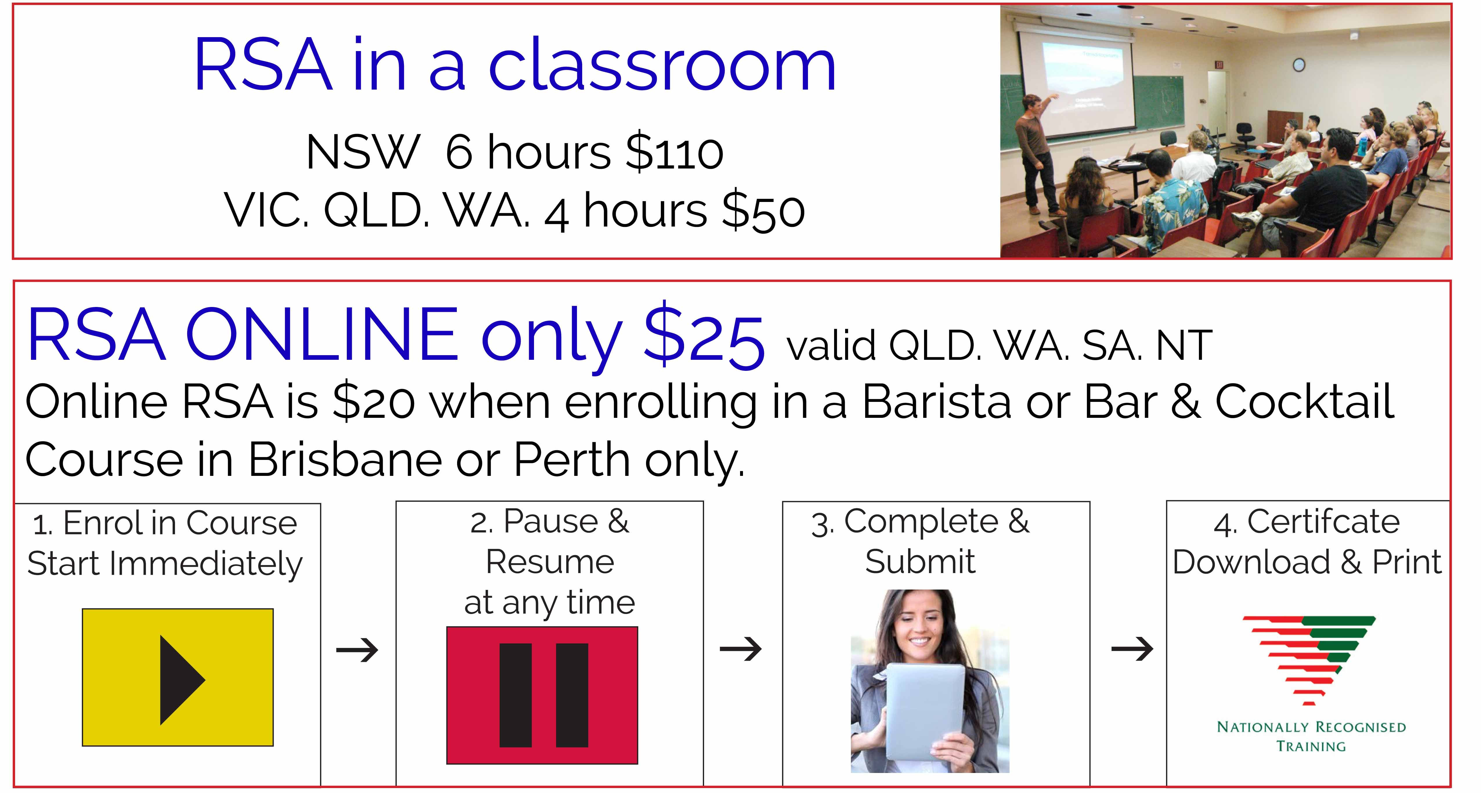 Rsa Rcg Qld Package Voucher Now Only 95 Coffee School