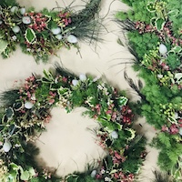 Christmas Wreath + Banquet Table Arrangement