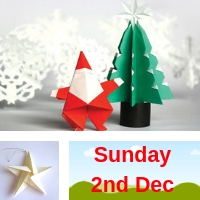 Origami Christmas Decorations Workshop Sunday 2nd Dec