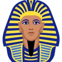 Egyptian Art - Blue & Gold Portrait Painting