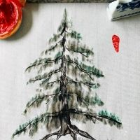Chinese Brush Painting - Christmas Pine Tree