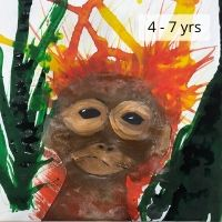 Drip Painting crazy hair Orangutan-4-7 yrs