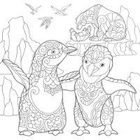 Independent School Early Break up Art Class - Penguin B&W Zendoodle Landscape - All Ages