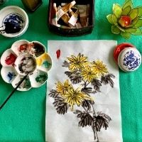 Autumn oriental brush painting - 4to7