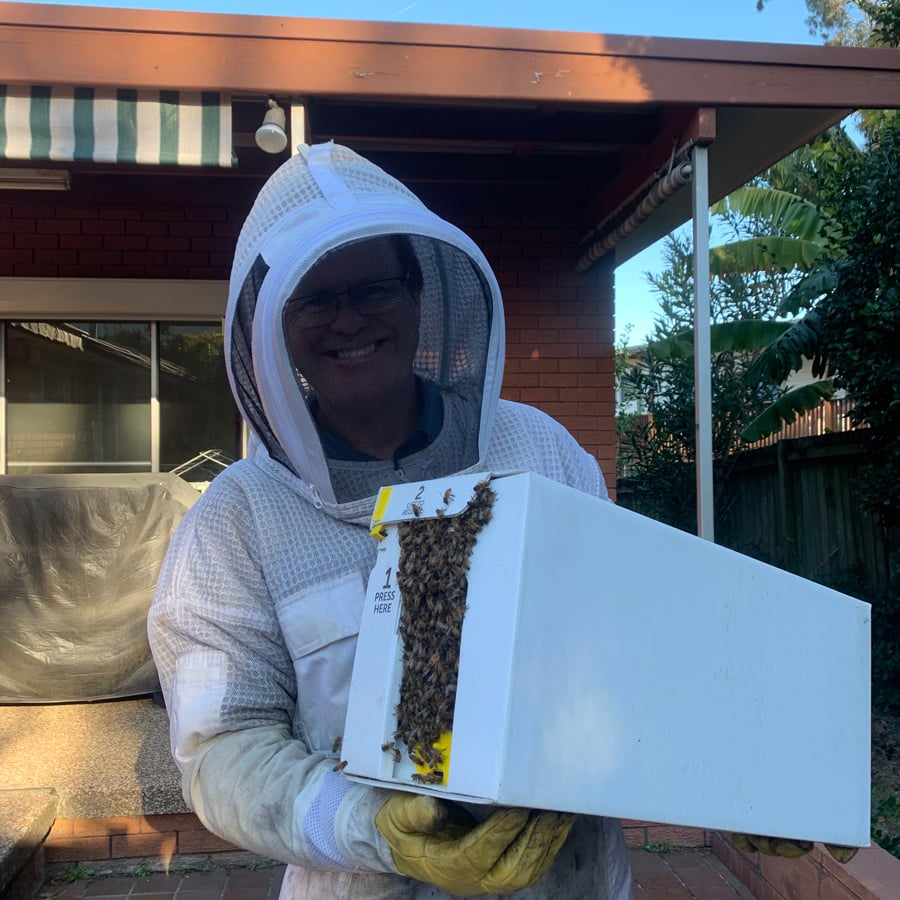 Geoff Begg holding a hive box swarming with bees
