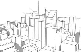 Perspective drawing of a cityscape