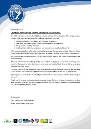 Important Announcement   World Cup and Junior …