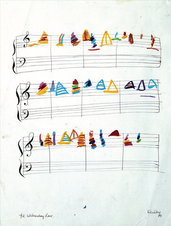 Sailboats on music sheets
