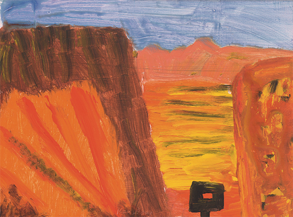 Ned Kelly in a canyon
