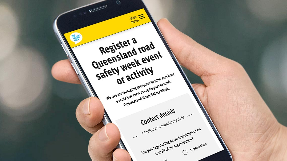 A smart phone with the Road Safety Week event registration form on the screen
