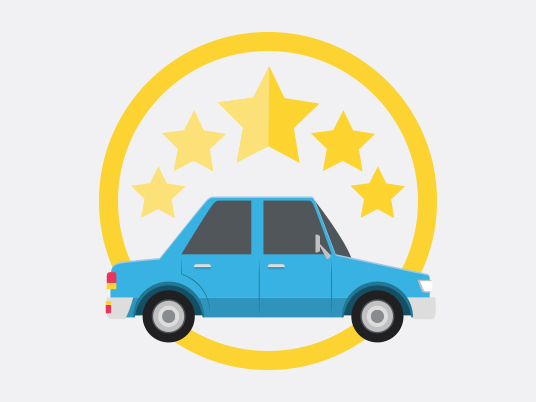 Illustration depicting a car with 5 star rating
