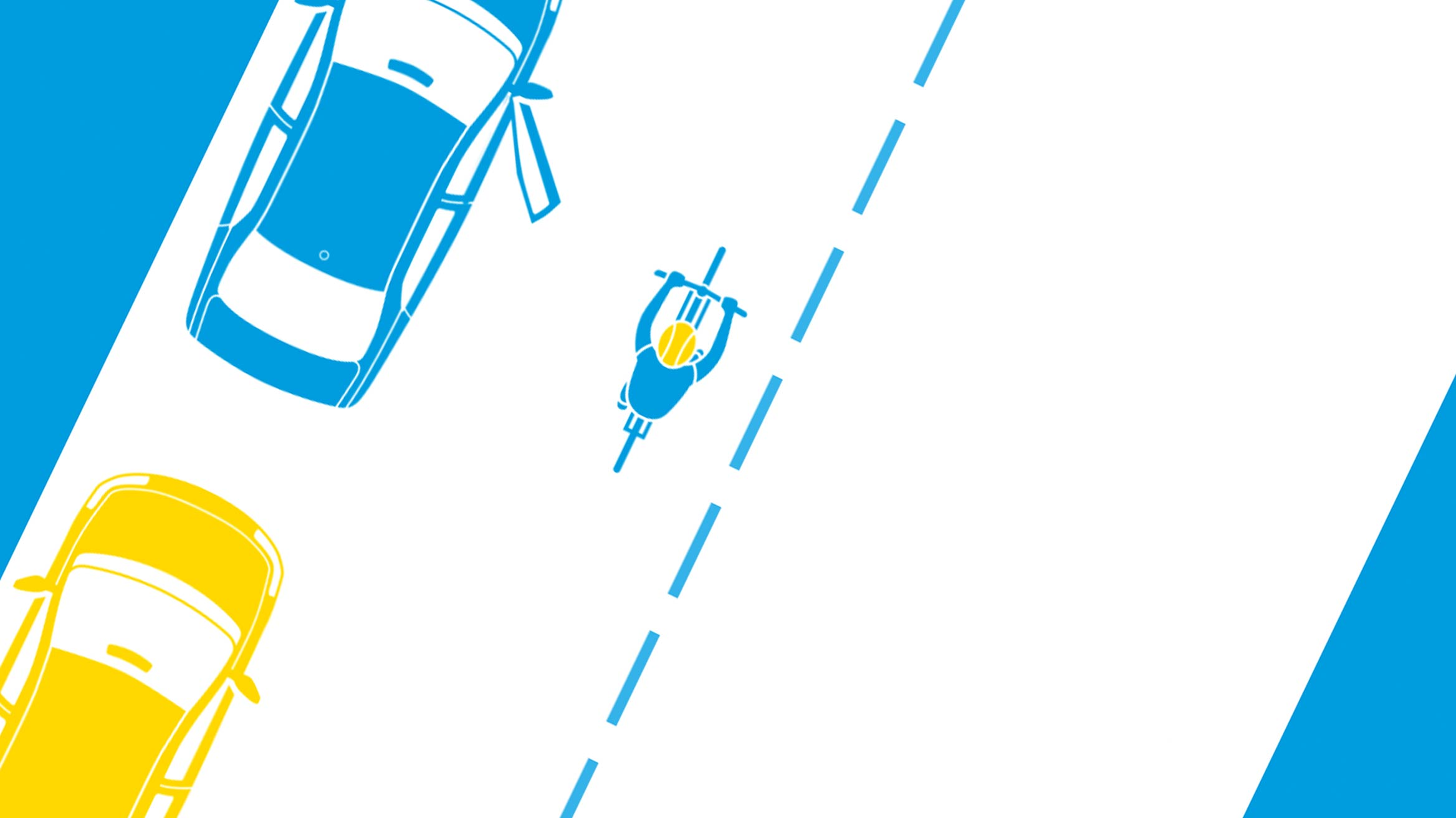 Top down cartoon image of bicycle rider riding past a parked car with its door open with a yellow car parked behind it
