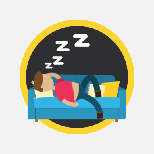 Illustration style image of a person asleep on a couch