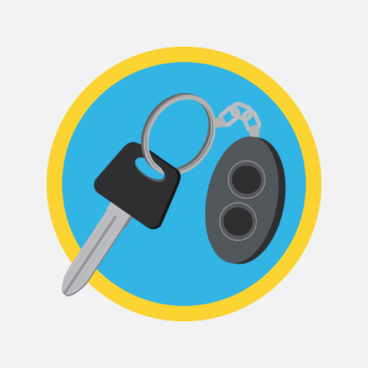 Illustration style image of a car key fob