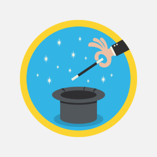Illustration style image of a top hat and magic wand