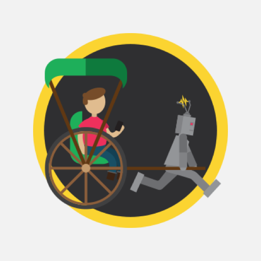 Illustration style image of a robot pulling a rickshaw