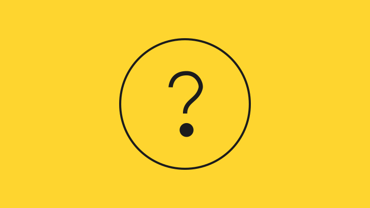 Black question mark icon in a thin circle on a yellow background
