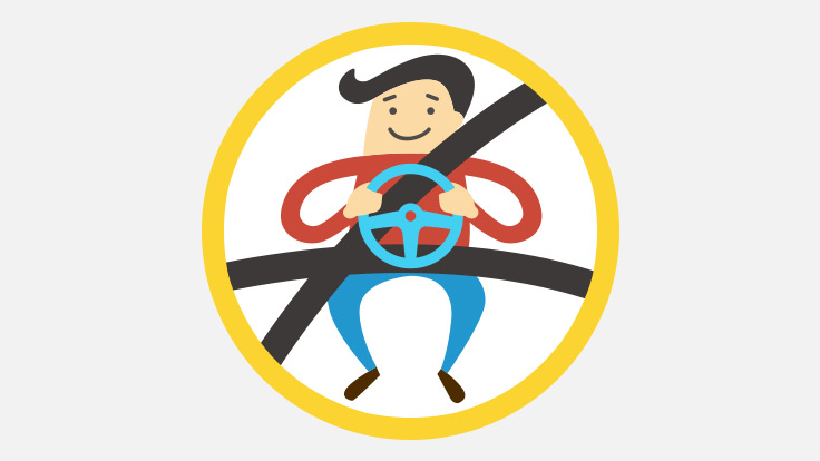 Animation style graphic showing a man wearing his seatbelts properly.