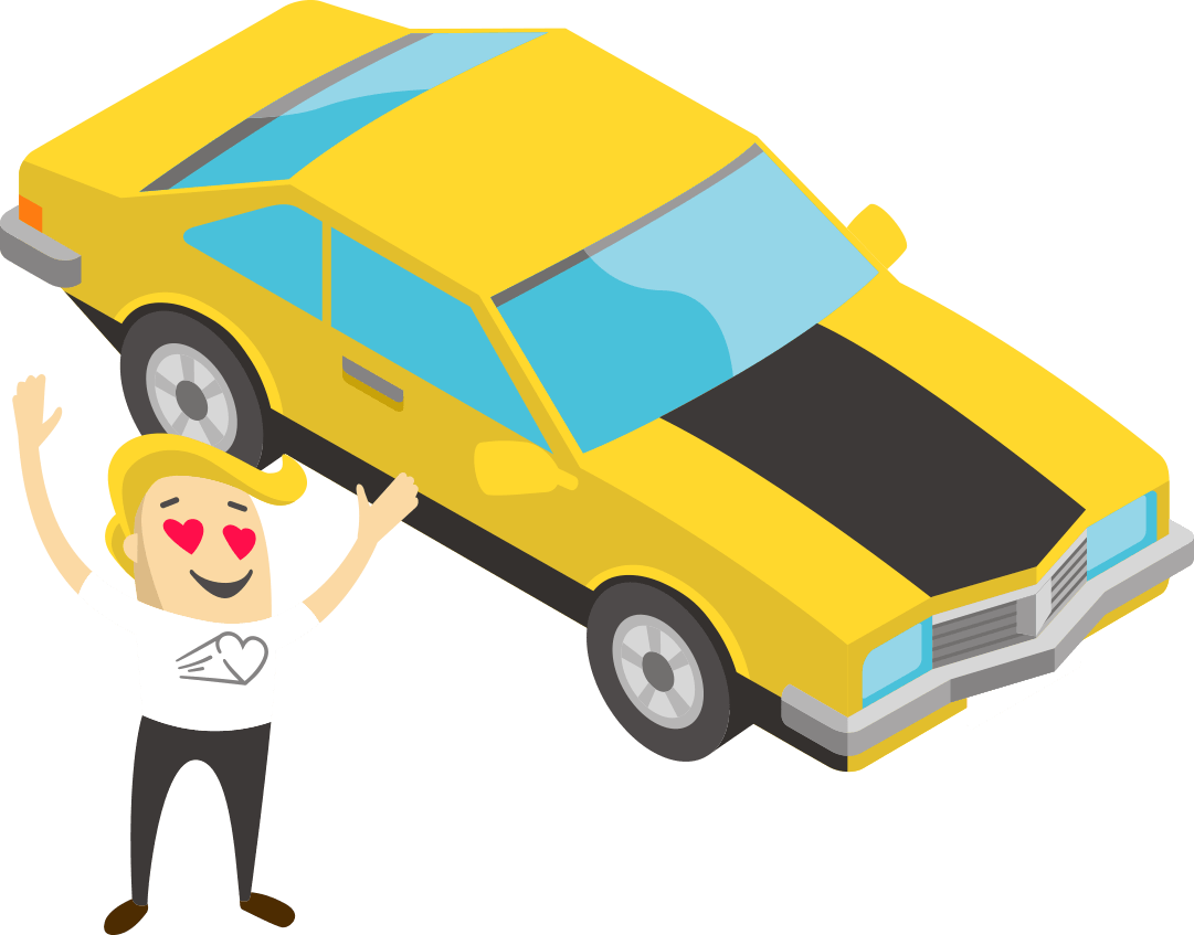 Animation style graphic showing a man with hearts in his eyes and his car.