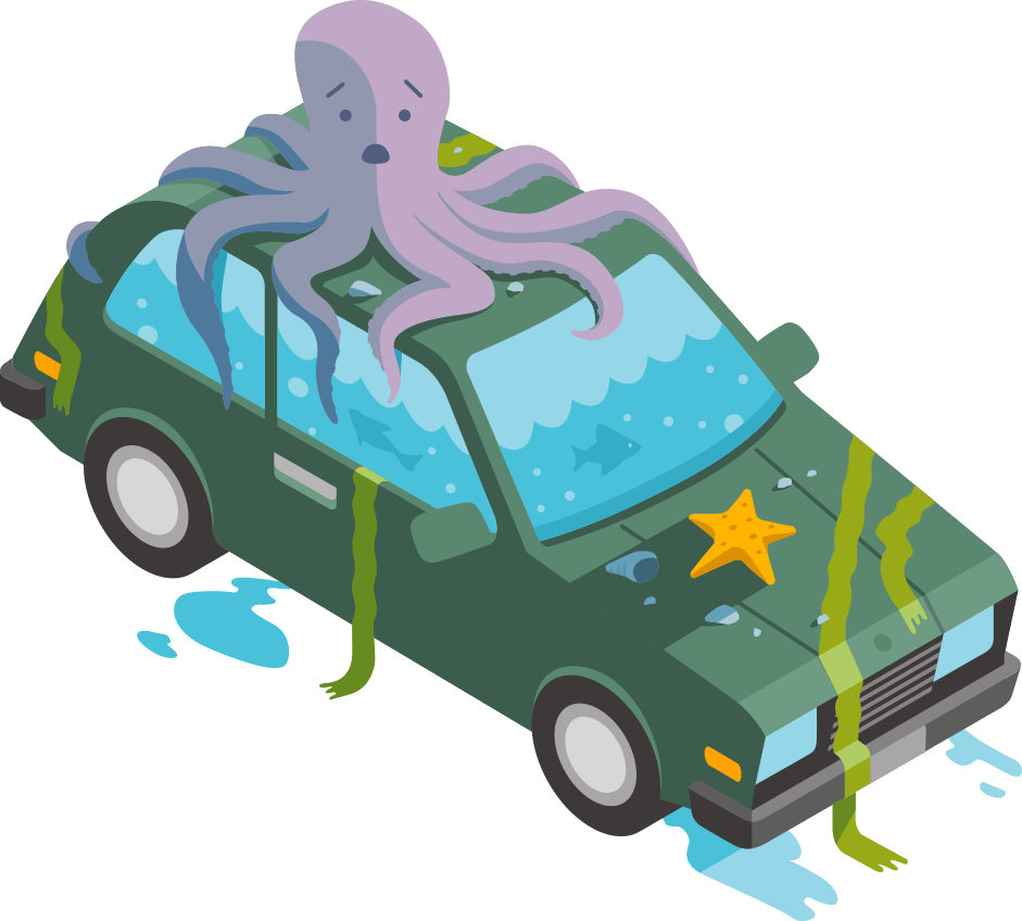 Animation style graphic showing an octopus sitting atop a car that's filled with sea water and draped in seaweed.