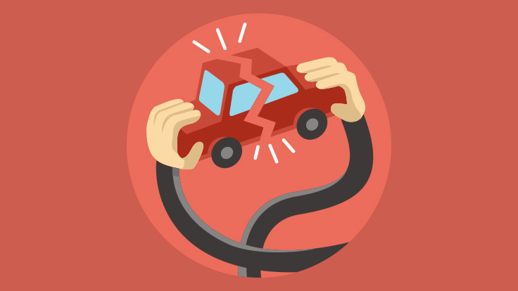 Animation style graphic showing hands breaking a small car apart.