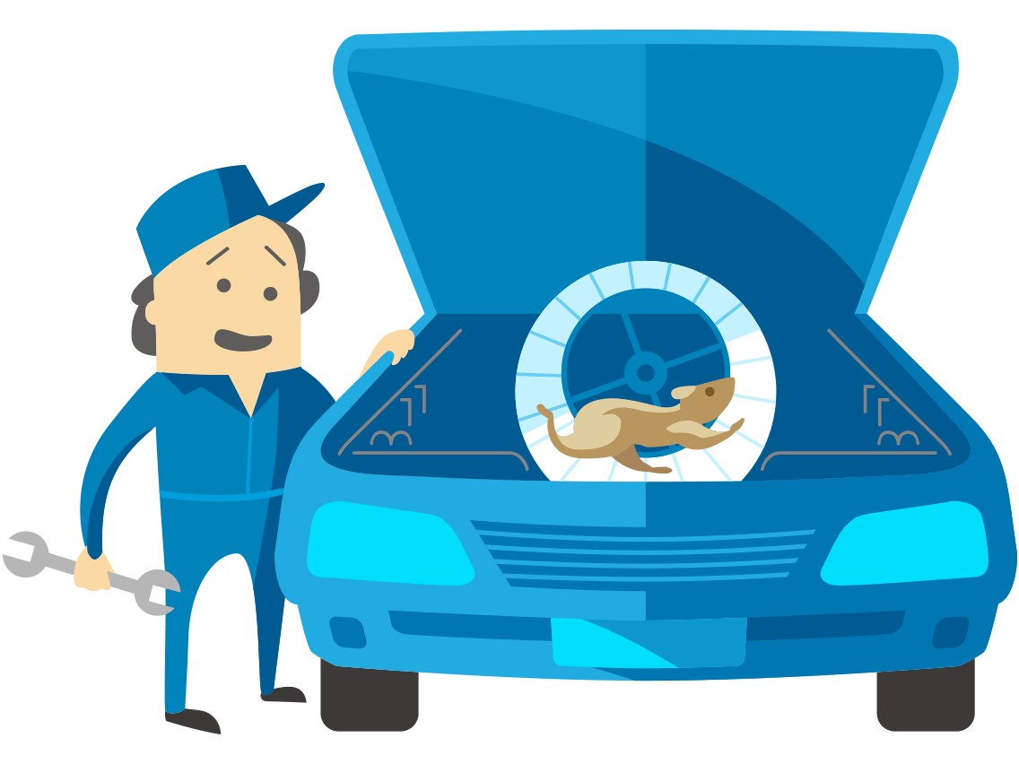 Animation style graphic showing a mechanic looking under the bonnet at a hamster in it's wheel where the engine should be!