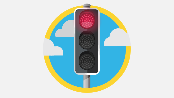 Sketch of red traffic light with clouds behind it
