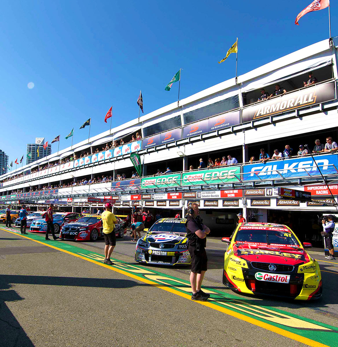 V8 Super cars lined up in the pitlane
