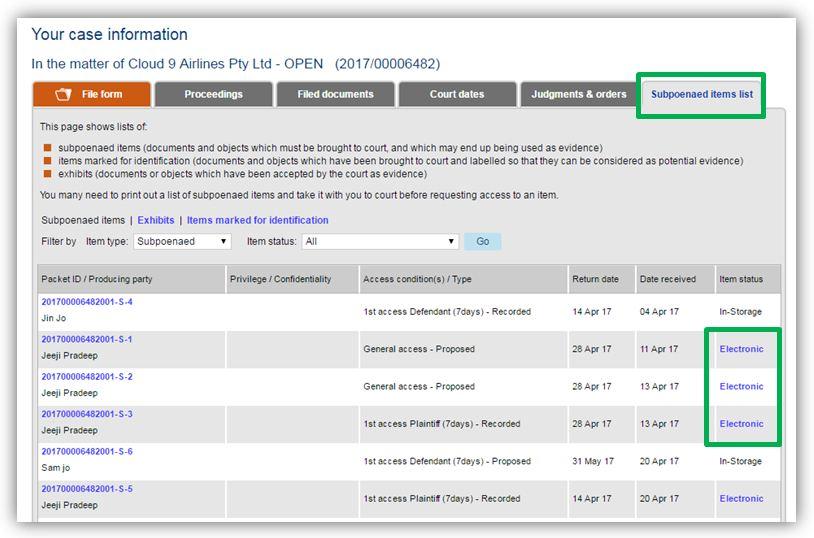 Online Registry subpoenaed items list screen