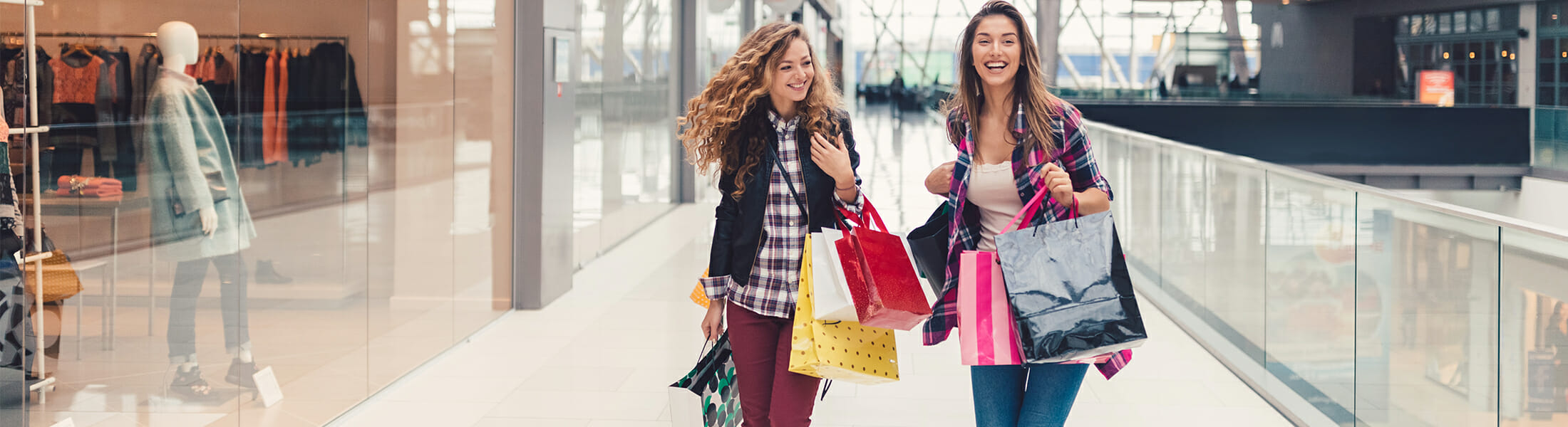 Two friends enjoying a day of shopping at Sylvia Park