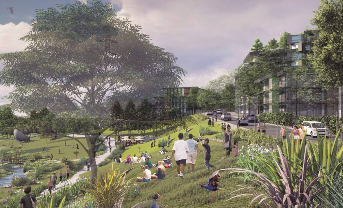 Artists impression of the Drury Reserve creek