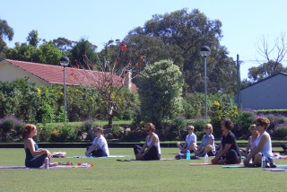 yoga on green