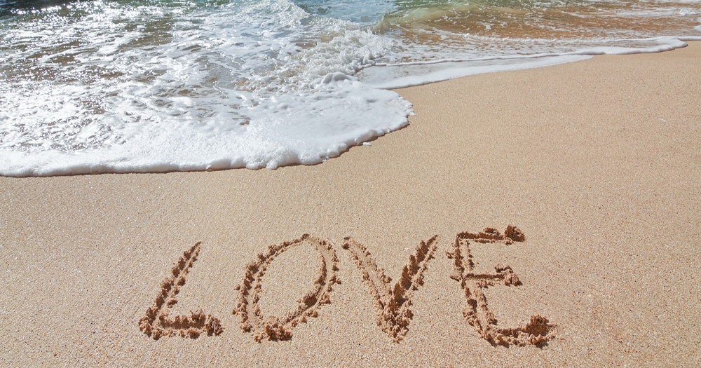 romantic travel beach heart