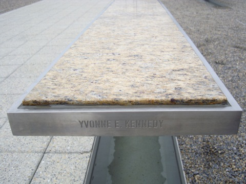 Yvonne Kennedy's bench at the Pentagon Memorial park. Photo: Simon Kennedy.