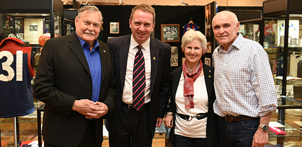 Ron Barassi, John Albrecht (Managing Director, Leonard Joel), Rosemary Long (Manager, Ron Barassi) and Paul Little AO