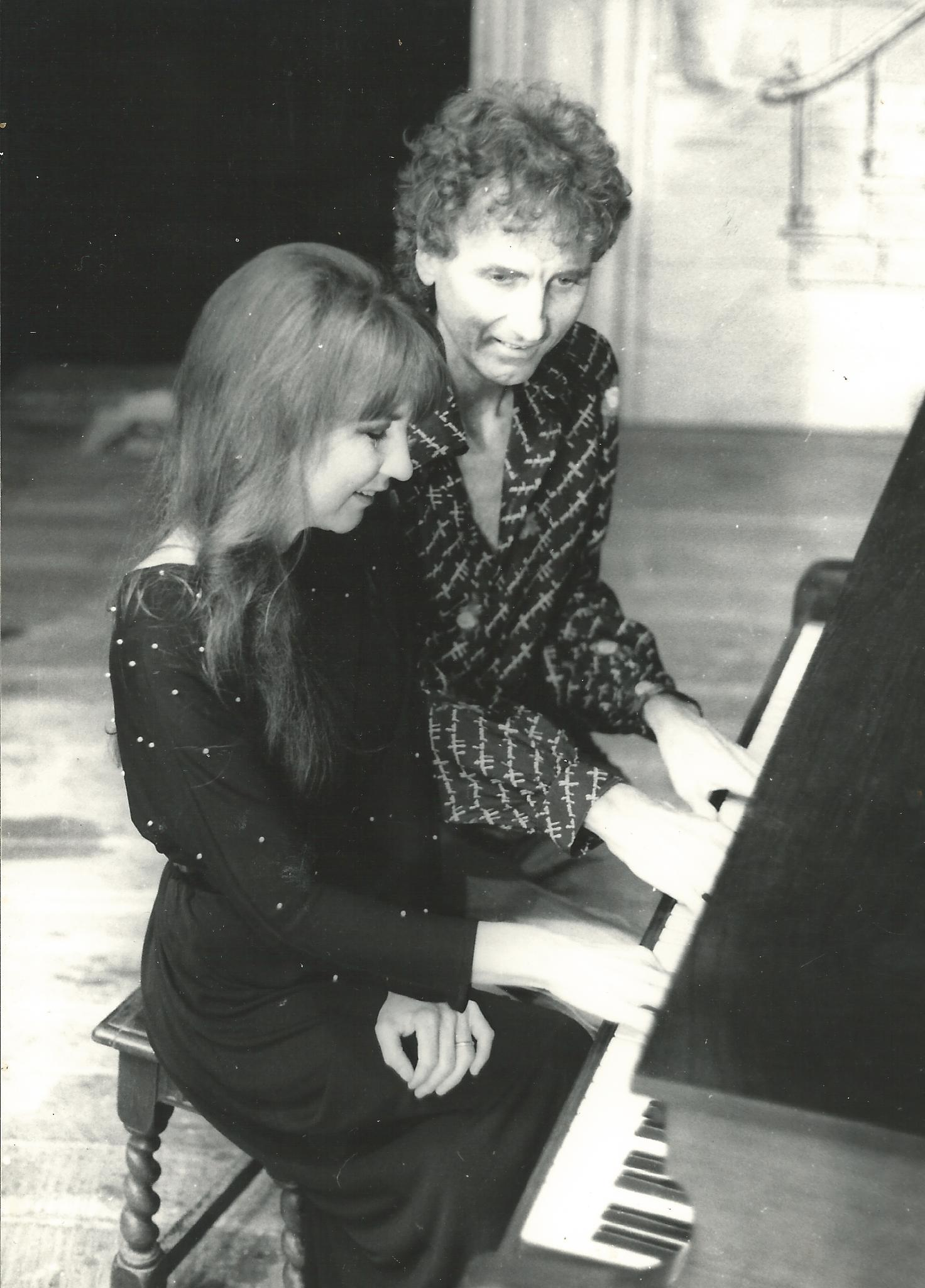 Judith and her late husband Ron Edgeworth playing piano together, late 1970s